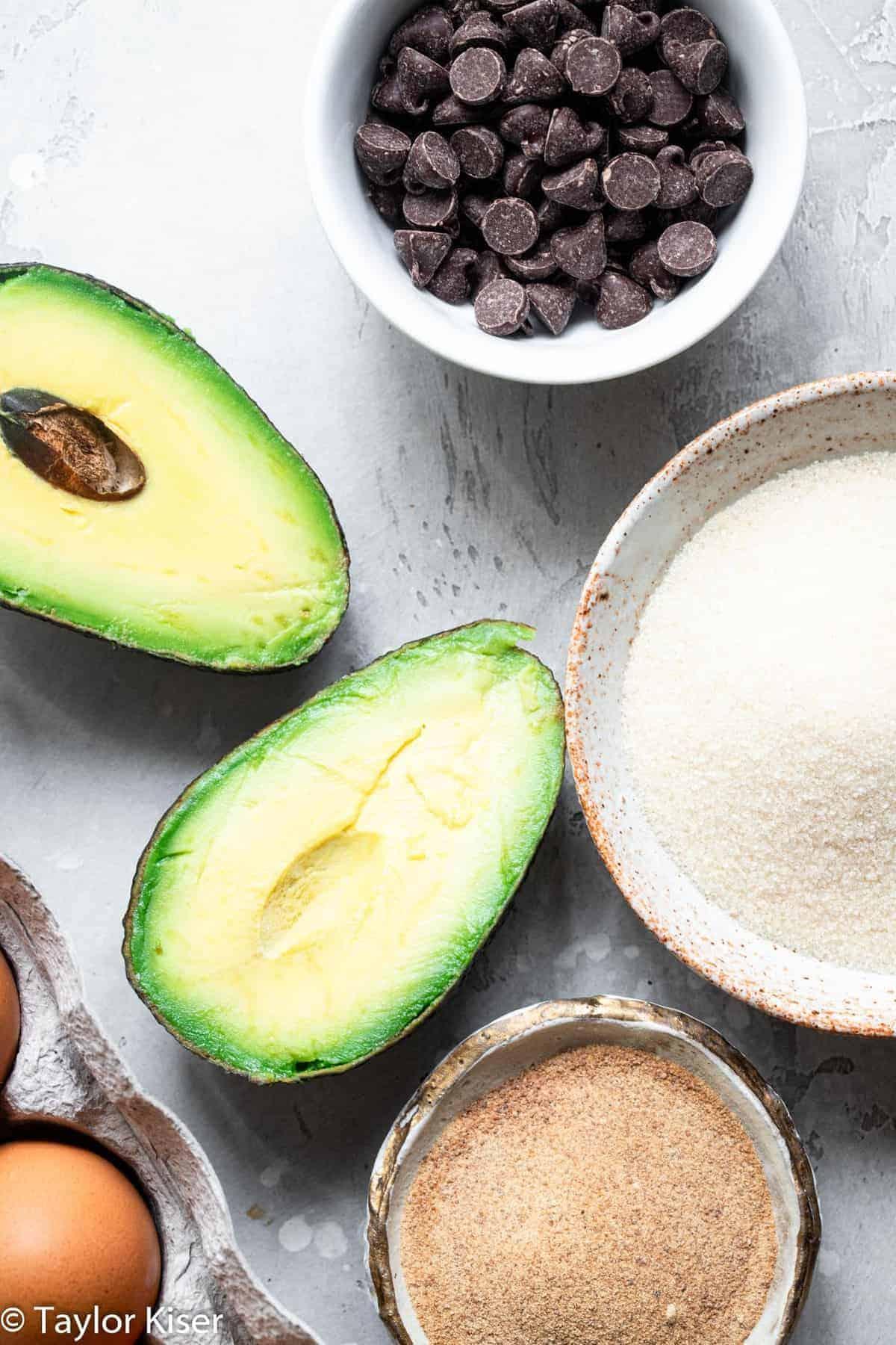 ingredients to make avocado cookies