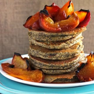 Buckwheat Pancakes With Almonds and Honey Roasted Peaches. {Gluten Free}