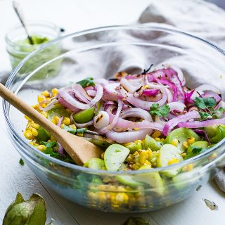 Grilled Mexican Corn Salad with Tomatillos