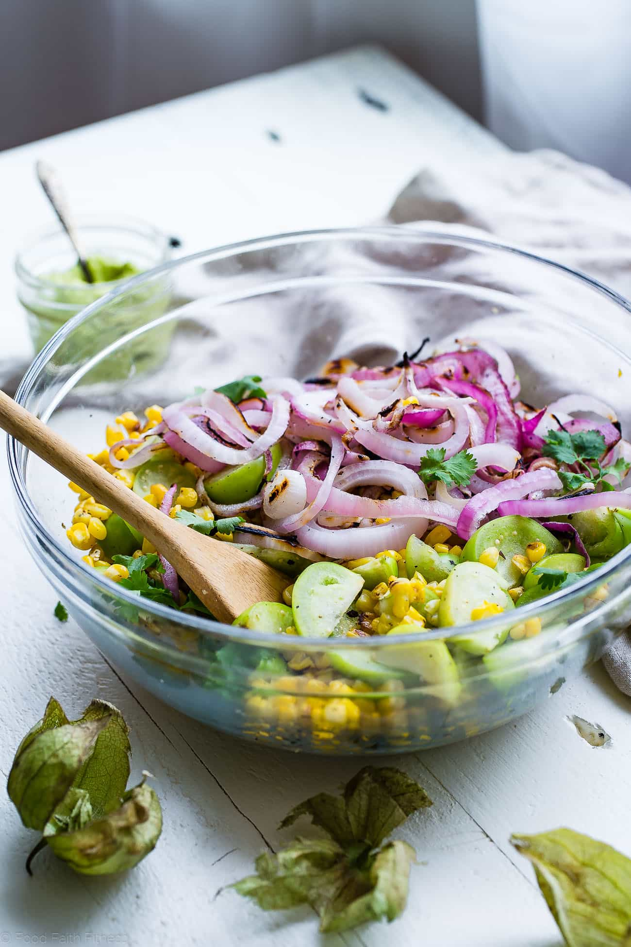 Grilled Corn and Tomatillo Salad in Bowl. Recipe on Foodfaithfitness.com