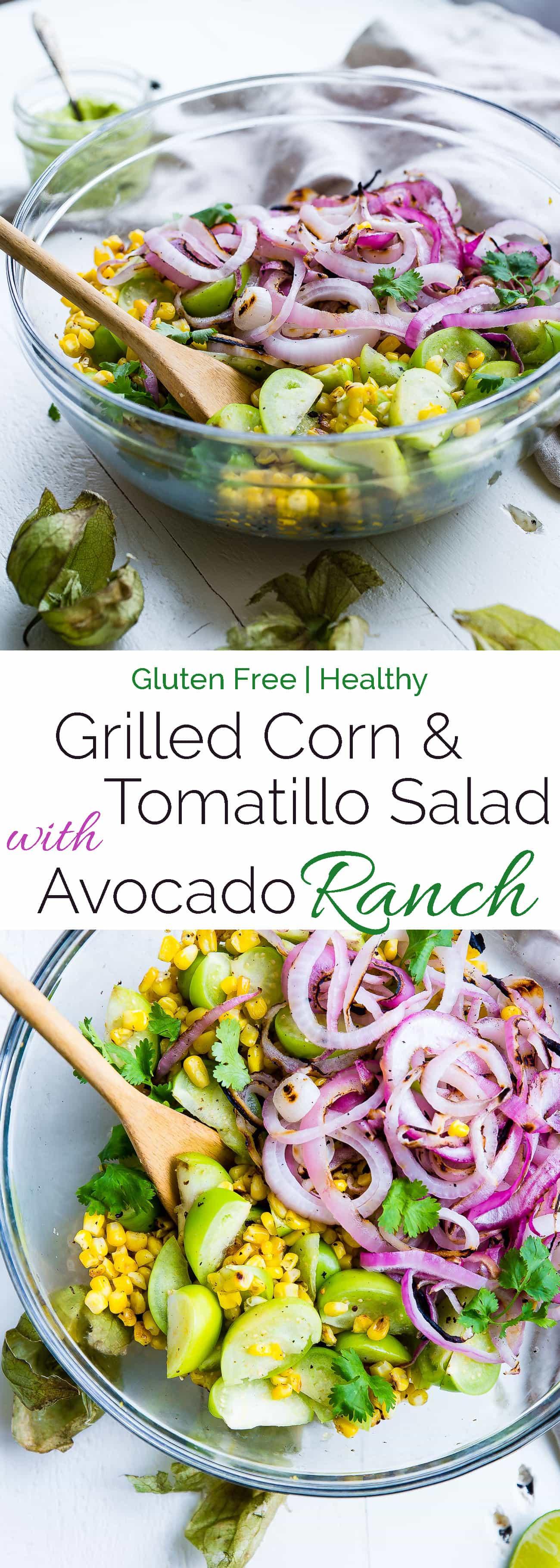 Collage image of grilled corn and tomatillo salad. Recipe on Foodfaithfitness.com