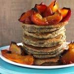 Almond Buckwheat Pancakes with Honey Roasted Peaches {GF} - Food Faith Fitness