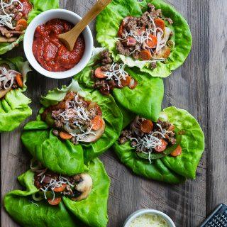 Low Carb Pizza Lettuce Wraps