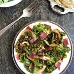 Kale Salad with Bacon and Caramelized Onions {Gluten Free and Low Carb}