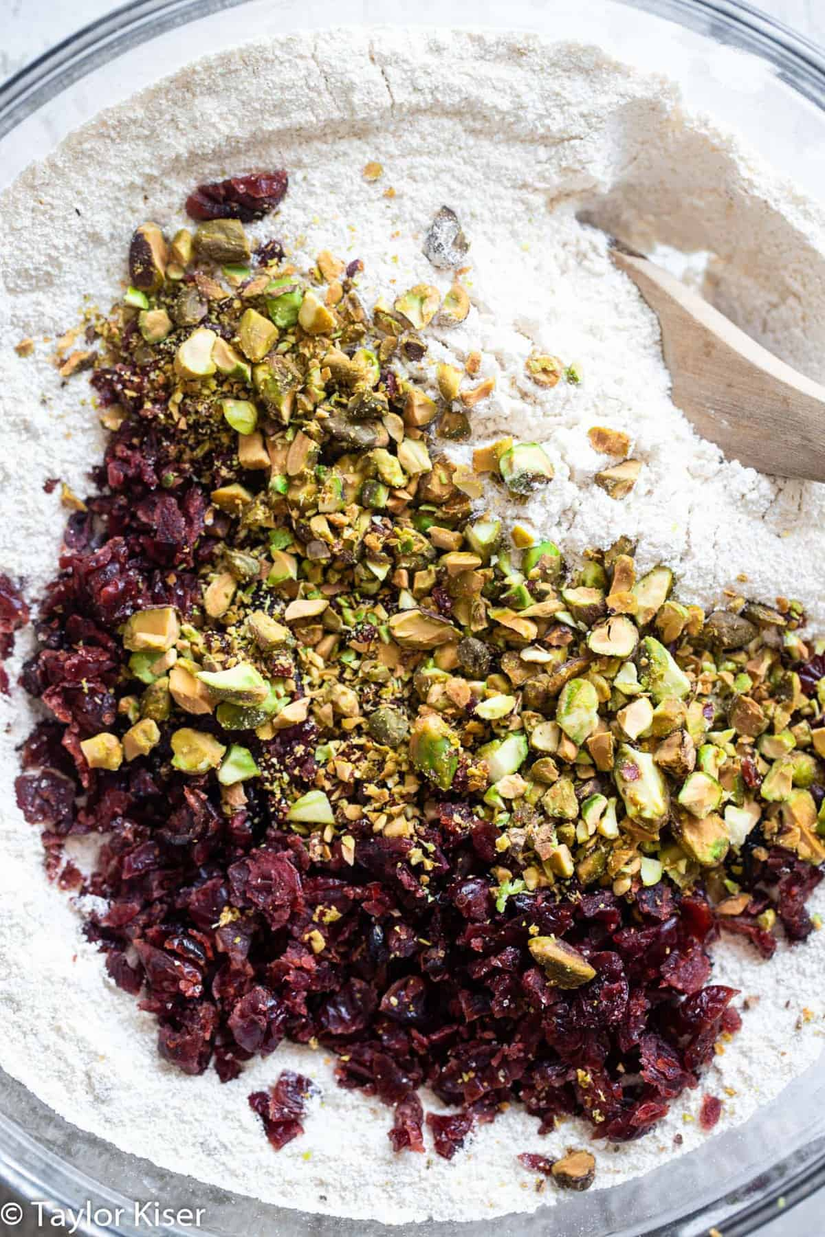 cranberries and pistachios in a bowl