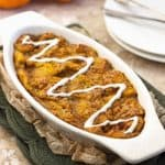 Baked French Toast with Pumpkin and Cream Cheese Drizzle {Low fat, Lower Calorie & Whole Wheat}