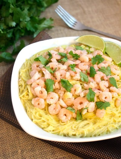 Creamy Curry Pasta with Shrimp {Gluten Free & Low fat} - Food Faith Fitness