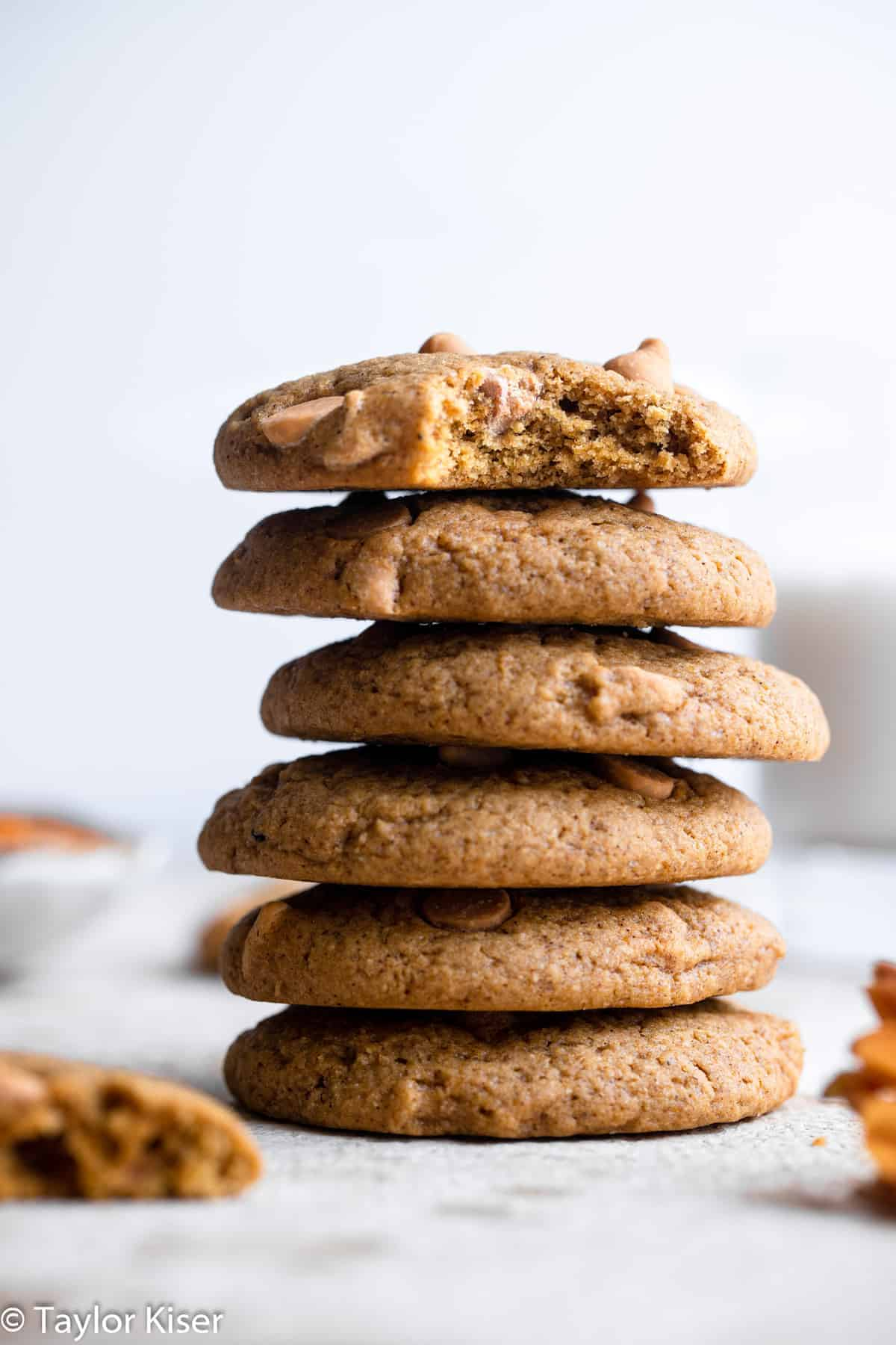 a stack of healthy pumpkin chocolate chip cookies