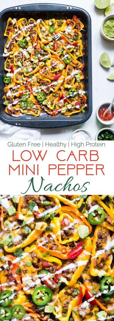 Collage image of mini bell pepper nachos. Recipe on Foodfaithfitness.com