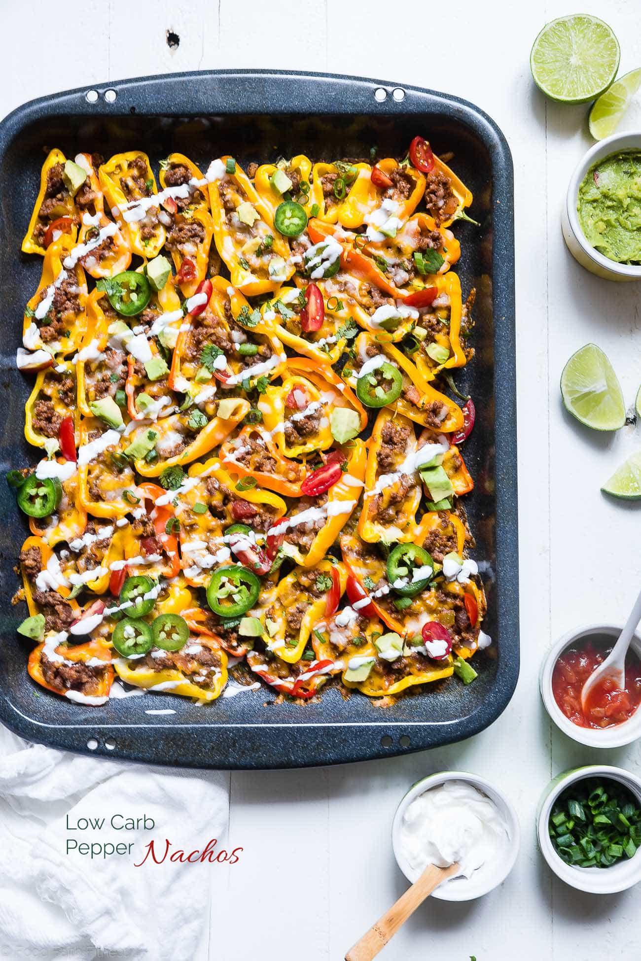 Mini bell pepper nachos on sheet pan. Recipe on Foodfaithfitness.com