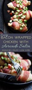 Whole30 Oven Baked Bacon Wrapped Chicken Breast - with a CREAMY, addicting avocado salsa, this is one quick and easy, kid friendly dinner that's paleo, keto and whole30 compliant! | Foodfaithfitness.com | @FoodFaithFit