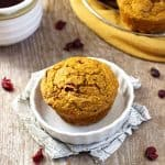 Gluten Free Pumpkin Muffins with Cranberries {Low Calorie & Low Fat}