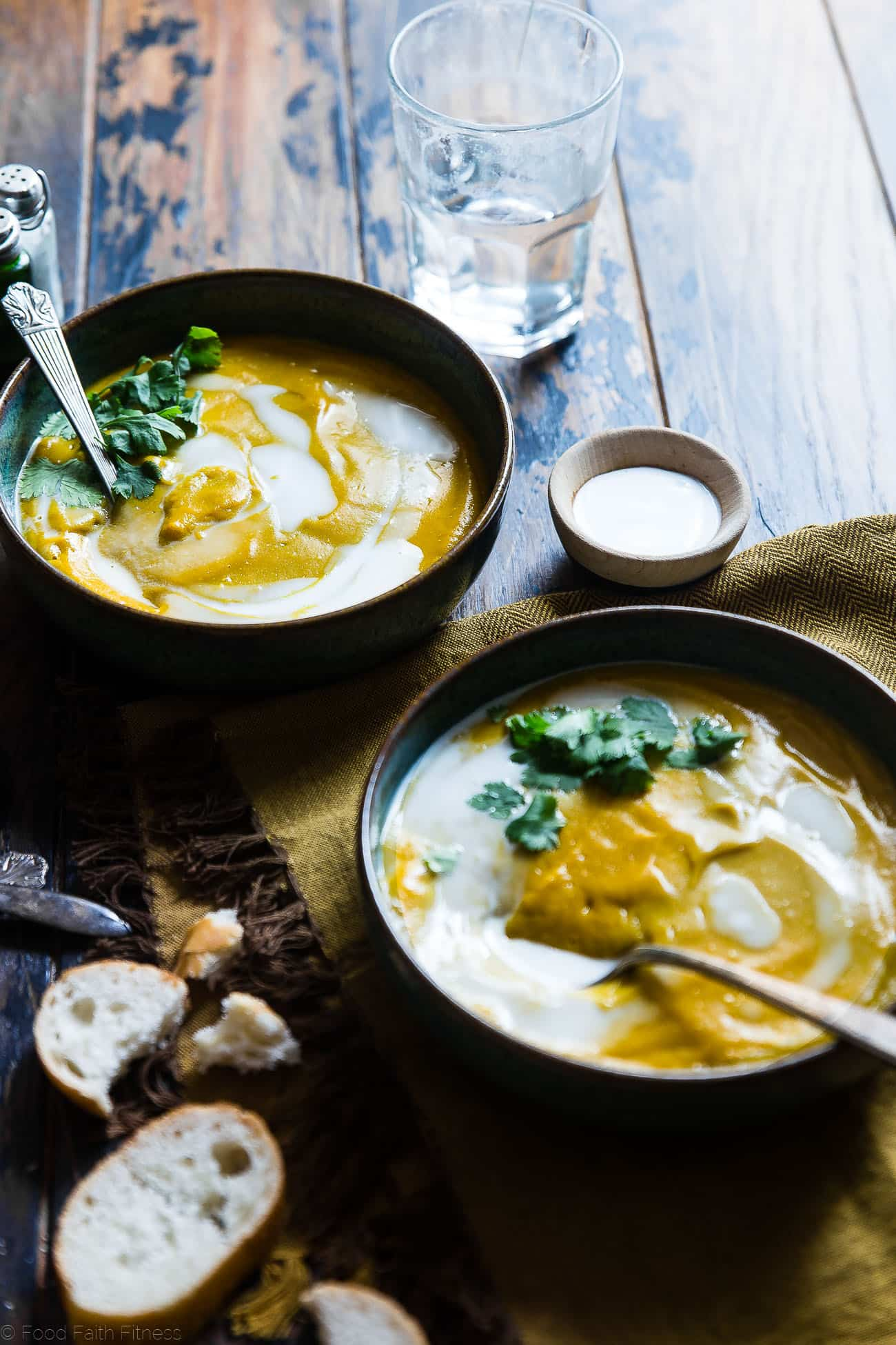 Coconut Curry Roasted Butternut Squash Soup - This spicy, paleo and vegan butternut squash soup is so creamy you'll never believe it's healthy, whole30 compliant and gluten and dairy free! | Foodfaithfitness.com | @FoodFaithFit