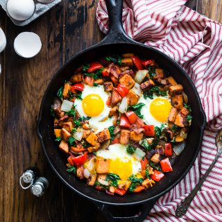 Healthy Paleo Sweet Potato Breakfast Hash with Bacon
