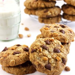 Healthy Oatmeal Cookies with Browned Butter, Chocolate and Peanuts {GF}