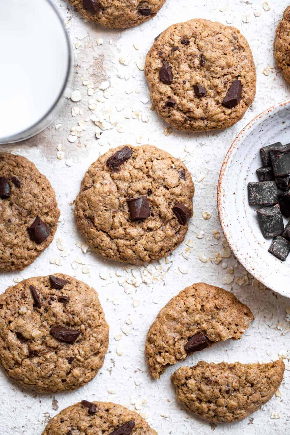 close up of brown butter oatmeal cookies