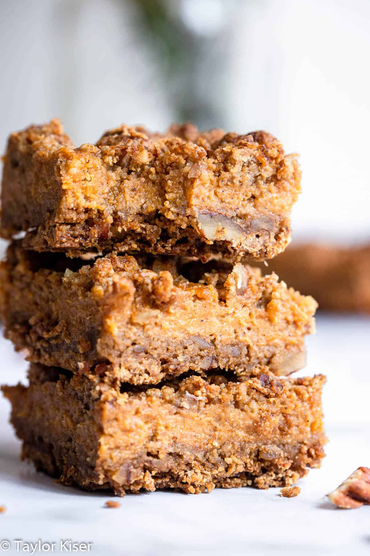 a stack of 3 healthy sweet potato pie squares