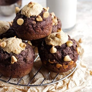 Chocolate Muffin Recipe with Peanut Butter Filling {Whole Wheat & Low Fat}