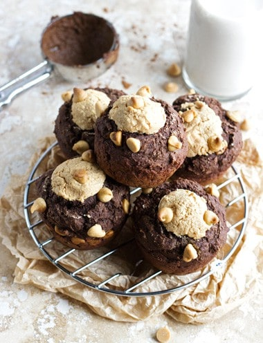 Skinny Chocolate Ricotta Peanut Butter Muffins - Food Faith Fitness