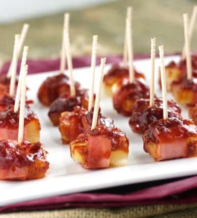Sweet 'N Sour Bacon Wrapped Pineapple {GF, Low Calorie & Low Fat} - Food Faith Fitness