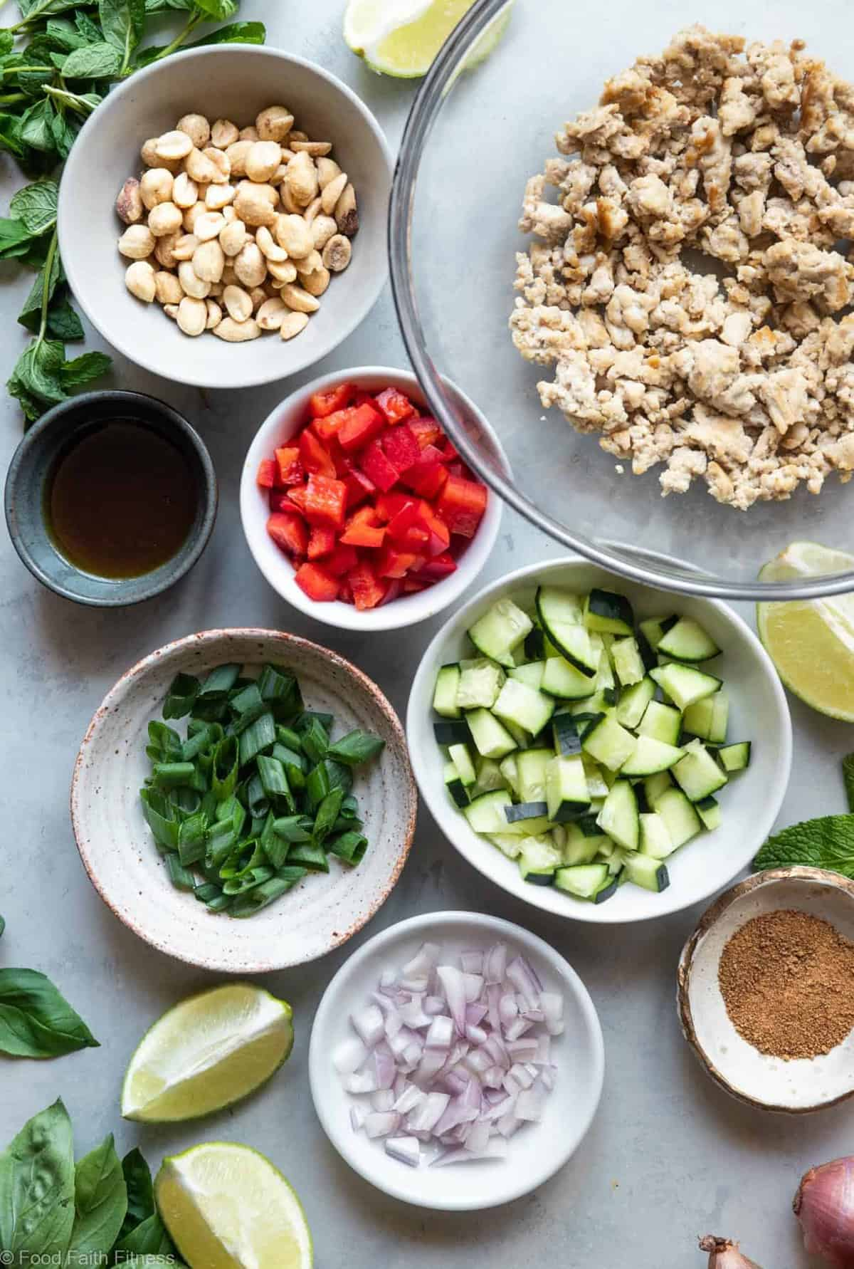 Low Carb Chicken Larb Thai Lettuce Wraps - An easy, healthy twist on a classic Thai salad! They're low carb, paleo friendly and super easy to make! Great for quick weeknight dinners! | #Foodfaithfitness | #glutenfree #lowcarb #paleo #healthy #Thai