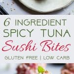Low Carb Spicy Tuna Bites -These quick and easy, 6 ingredientspicy tuna bites are a healthier spin on the classic spicy tuna roll that has all the taste without the fat or carbs. Perfect for a light lunch with 0 Freestyle Smartpoints! | #Foodfaithfitness | #Lowcarb #Glutenfree #Healthy #Greekyogurt #Keto