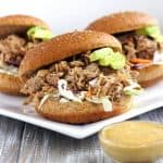 Chipotle Slow Cooker Pulled Pork Sandwiches With Avocado Ranch Sauce {Whole Wheat}