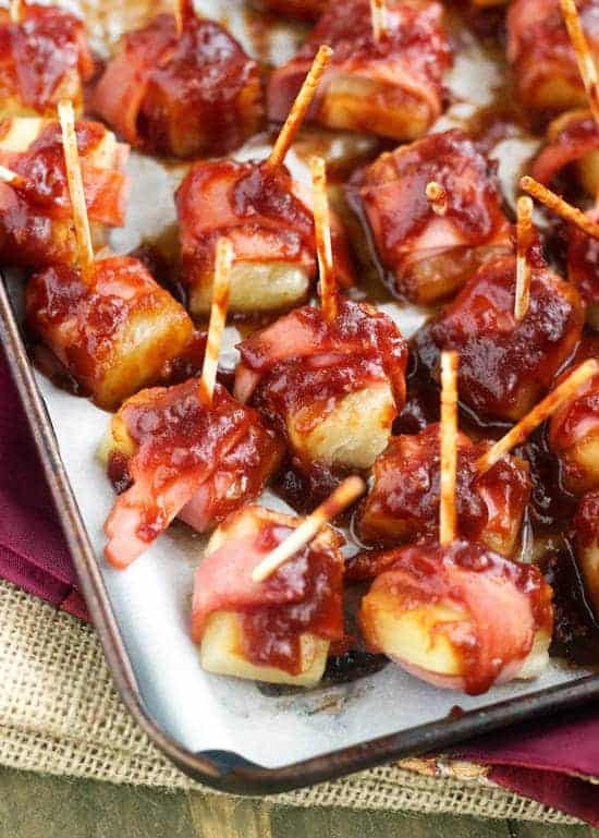 Sweet And Sour Bacon Wrapped Pineapple - Quick, easy and CRAZY delicious! You NEED to try these! | Food Faith Fitness | #appetizer #recipe #bacon