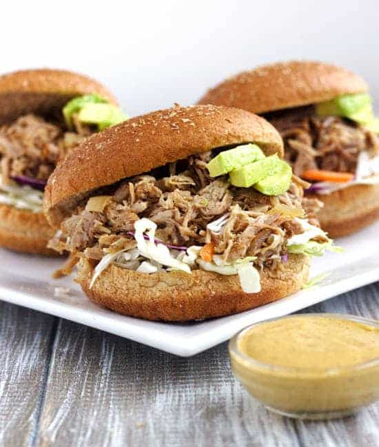Crockpot Chipotle Pulled Pork Sandwiches With Avocado Ranch Sauce {Whole Wheat} - Food Faith Fitness
