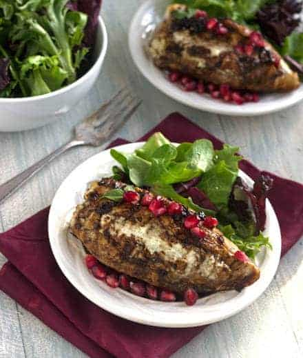 Goat Cheese Stuffed Pomegranate Chicken with Balsamic Reduction {High Protein + GF} - Food Faith Fitness