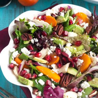 Pomegranate Salad With Persimmons and Honey Balsamic Vinaigrette {GF & High Protein}