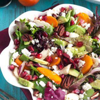 Pomegranate Persimmon Salad With Honey Balsamic Vinaigrette {GF + High Protein} - Food Faith Fitness