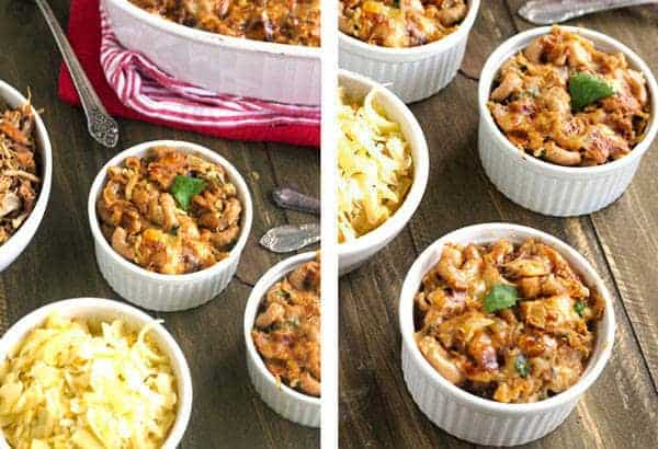 Lighter BBQ Pulled Pork Mac 'N Cheese with Caramelized Onions {Whole Wheat} - Food Faith Fitness