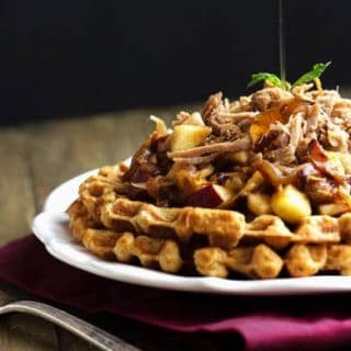 Cornbread Waffles With Pulled Pork And Maple Apple Chutney {Whole Wheat}