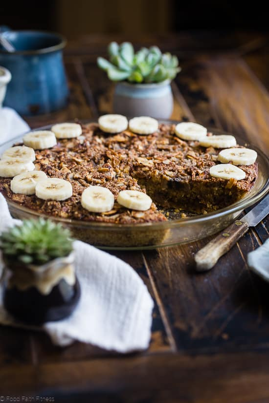 quinoa breakfast bake in a pie plate with a slice cut out