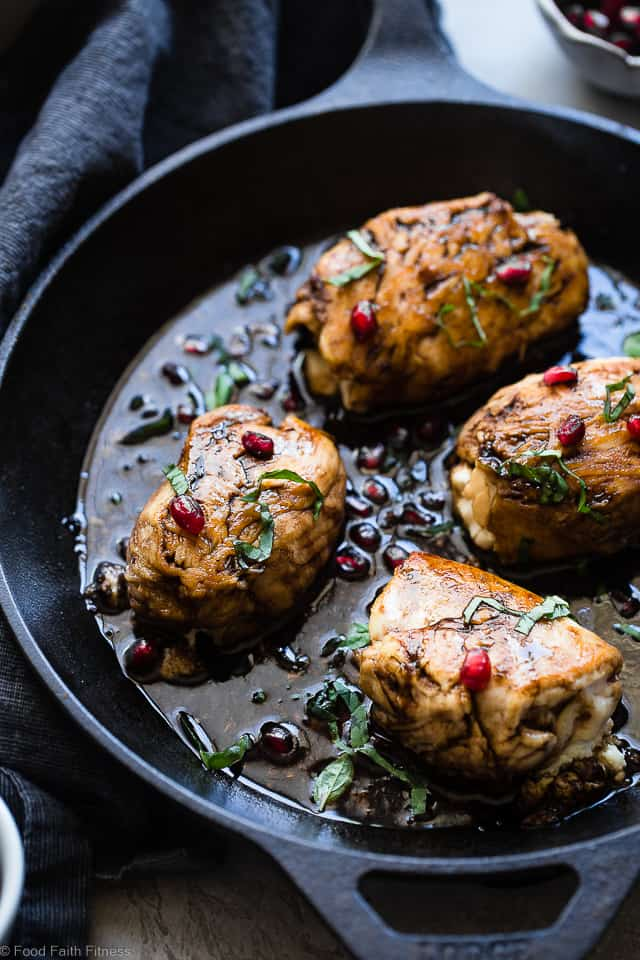 Baked Balsamic Goat Cheese Stuffed Pomegranate Chicken Food Faith