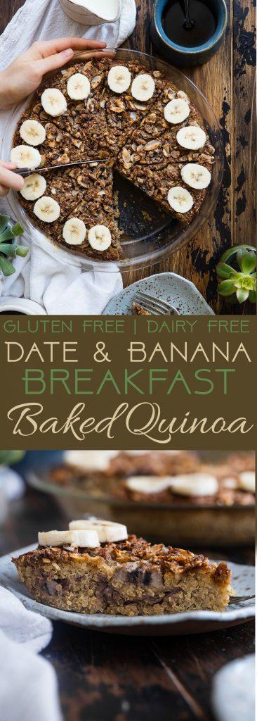 Collage image of breakfast quinoa casserole. Recipe on Foodfaithfitness.com