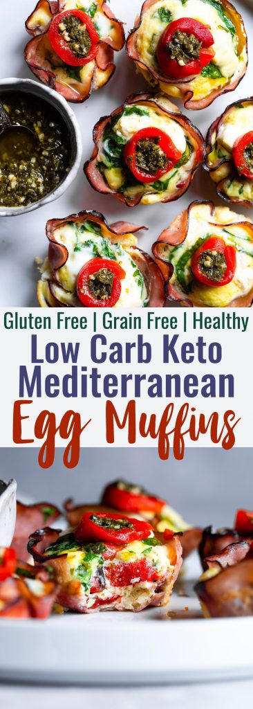 Mediterranean Keto Low Carb Egg Muffins - These easy, healthy egg muffinshave a little Mediterraneanflair and are packed with protein! A portable, healthy and gluten free breakfast or snack that is keto friendly and low carb!   #Foodfaithfitness   #Glutenfree #Keto #Lowcarb #Breakfast #Healthy