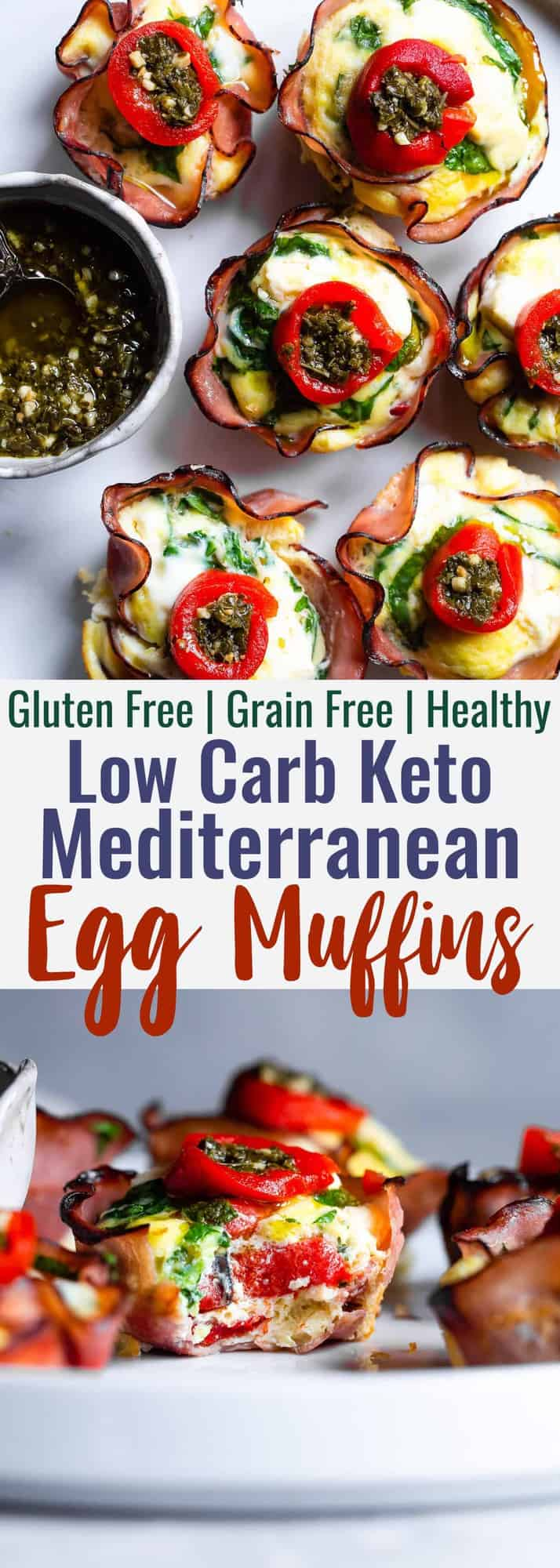 Mediterranean Keto Low Carb Egg Muffins - These easy, healthy egg muffins have a little Mediterranean flair and are packed with protein! A portable, healthy and gluten free breakfast or snack that is keto friendly and low carb! | #Foodfaithfitness | #Glutenfree #Keto #Lowcarb #Breakfast #Healthy