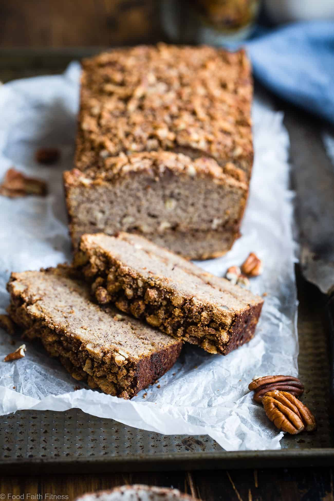The Best Paleo Banana Bread with Pecan Streusel -This easyPaleo Coconut Flour Banana Bread with coconut flour is gluten/grain/dairy/refined sugar free but perfectly moist and sweet! The pecan topping MAKES it so addicting and you'll never know it's healthy! | Foodfaithfitness.com | @FoodFaithFit