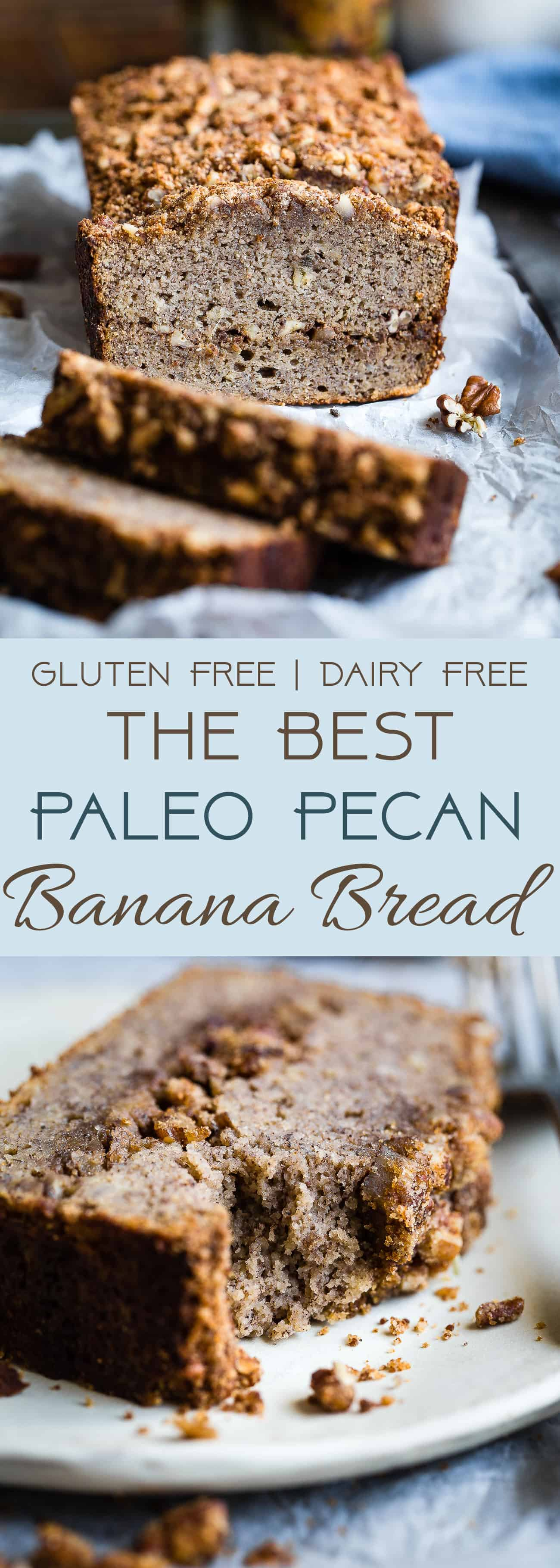 The Best Paleo Banana Bread with Pecan Streusel - This easy Paleo Coconut Flour Banana Bread is gluten/grain/dairy/refined sugar free but perfectly moist and sweet! The pecan topping MAKES it so addicting and you'll never know it's healthy! | Foodfaithfitness.com | @FoodFaithFit