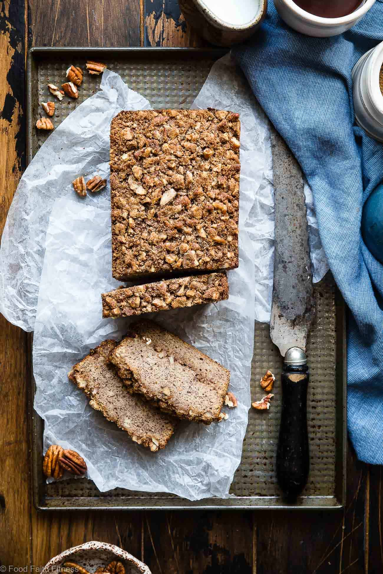 The Best Paleo Banana Bread with Pecan Streusel -This easyPaleo Coconut Flour Bread recipe is gluten/grain/dairy/refined sugar free but perfectly moist and sweet! The pecan topping MAKES it so addicting and you'll never know it's healthy! | Foodfaithfitness.com | @FoodFaithFit