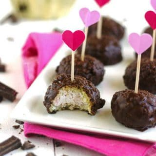 Gluten Free Cheesecake Stuffed Raspberry Coconut Quinoa Bites with Chocolate Glaze