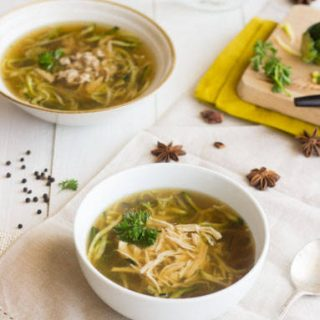 Chicken Noodle Soup with Zucchini Noodles {Gluten Free, Low calorie, Low Fat + High Protein}