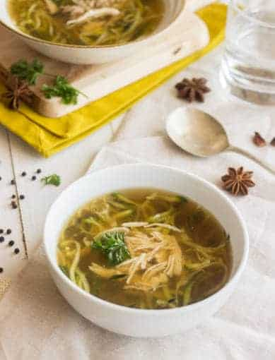 Chicken Zoodle Soup {Gluten Free, Low calorie, Low Fat + High Protein} - Food Faith Fitness