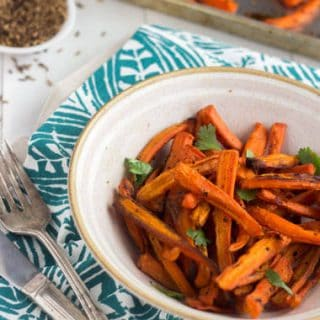 Roasted Carrots with Coconut and Cumin {Gluten Free + Low Fat}