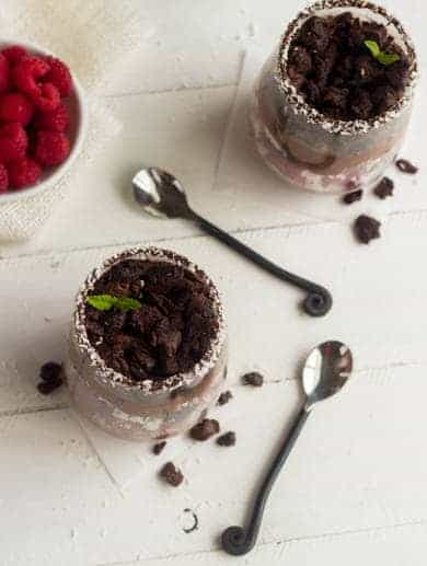 Brownie Coconut Raspberry Mousse Parfaits {Butter free + Gluten Free} - Food Faith Fitness