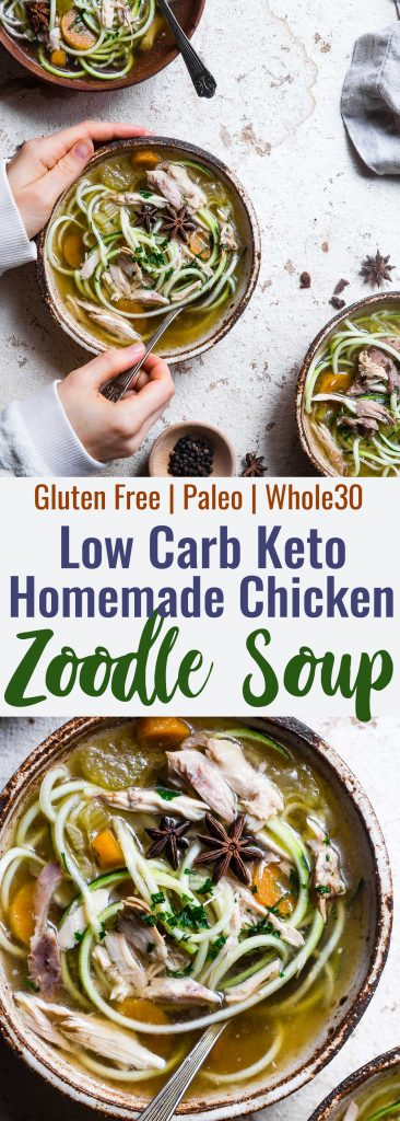 Low carb Chicken Zoodle Soup - This easy homemade healthy keto Chicken Zoodle Soup uses zucchini noodles so it's gluten free, low carb, paleo, whole30 AND packed with protein! You won't miss the noodles! | #Foodfaithfitness | #Glutenfree #Lowcarb #Keto #Whole30 #Paleo