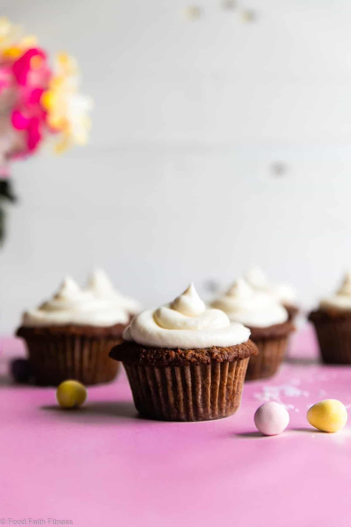 Gluten Free Carrot Cake Cupcakes Recipe -These Gluten Free Carrot Cake Cupcakes are tender, light, moist and perfectly spicy-sweet! No one will believe they are gluten free! Dairy free option included! | #Foodfaithfitness |