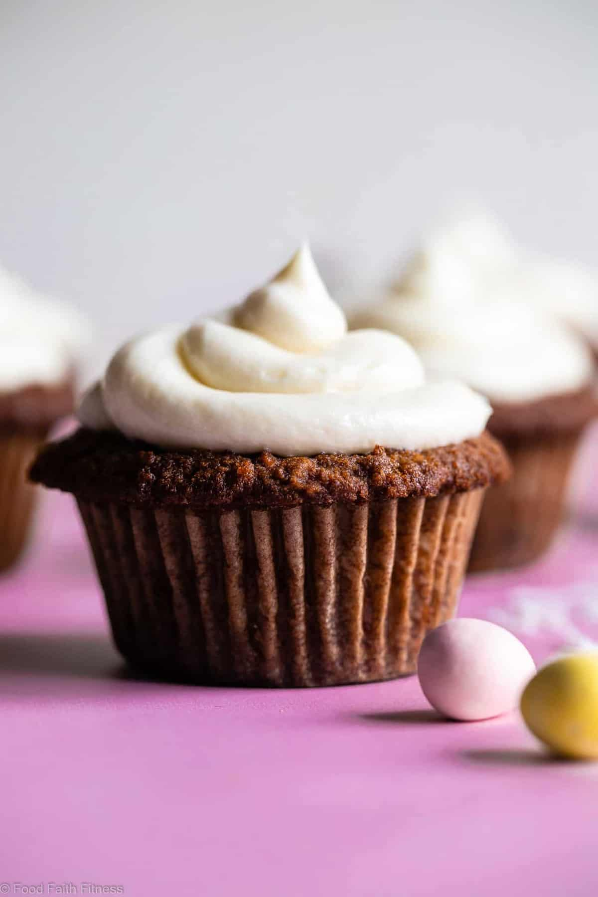 Gluten Free Carrot Cake Cupcakes -These Gluten Free Carrot Cake Cupcakes are tender, light, moist and perfectly spicy-sweet! No one will believe they are gluten free! Dairy free option included! | #Foodfaithfitness |